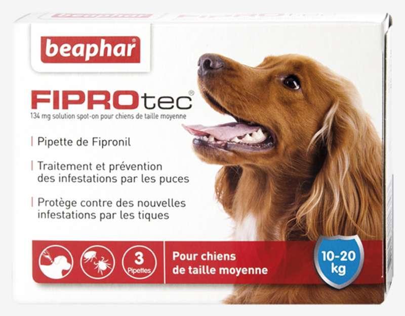 fiprotec pipettes contre puces et tiques pour chien 10 20. Black Bedroom Furniture Sets. Home Design Ideas